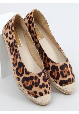 Leopardie dámske espadrilky hnedej farby s pletenou podrážkou