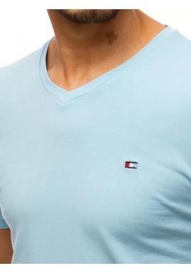 Svetlomodré módne tričko s véčkovým výstrihom pre pánov