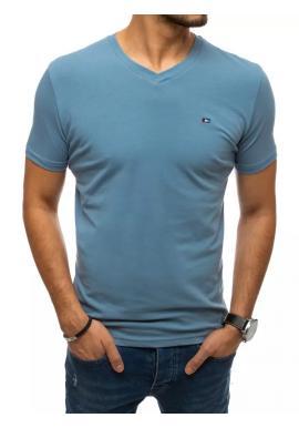 Pánske módne tričko s véčkovým výstrihom v modrej farbe