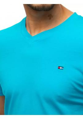 Módne pánske tričko tyrkysovej farby s véčkovým výstrihom