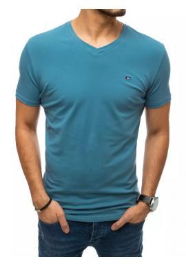 Modré módne tričko s véčkovým výstrihom pre pánov