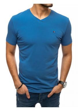 Módne pánske tričká modrej farby s véčkovým výstrihom