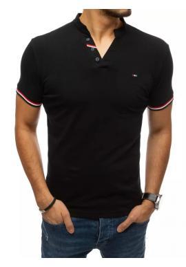 Pánske štýlové tričko s ozdobnými gombíkmi v čiernej farbe