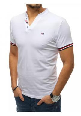 Štýlové pánske tričko bielej farby s ozdobnými gombíkmi