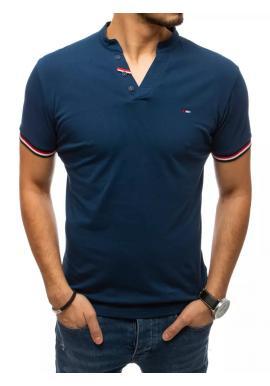 Modré štýlové tričko s ozdobnými gombíkmi pre pánov