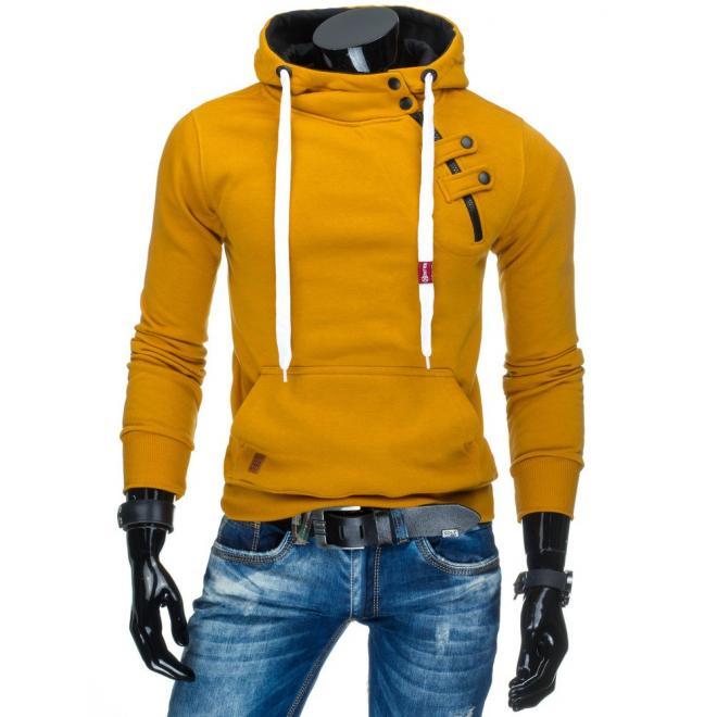 Pánka mikina žltej farby s kapucňou