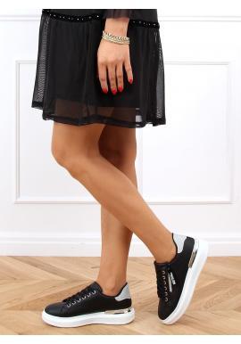 Dámske štýlové tenisky s trblietavými vložkami v čiernej farbe