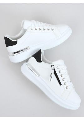 Štýlové dámske tenisky bielo-čiernej farby s trblietavými vložkami