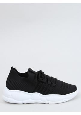 Dámske športové tenisky so štýlovou podrážkou v čiernej farbe
