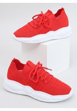 Červené športové tenisky so štýlovou podrážkou pre dámy