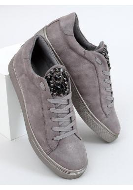 Dámske semišové tenisky s kamienkami v sivej farbe
