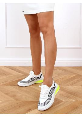 Dámske športové tenisky s kontrastnými vložkami v bielej farbe