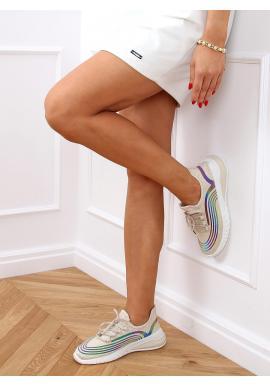 Béžové športové tenisky s kontrastnými vložkami pre dámy