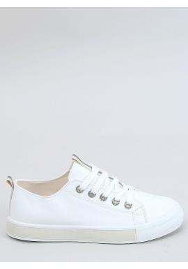 Lícové dámske tenisky bielo-béžovej farby