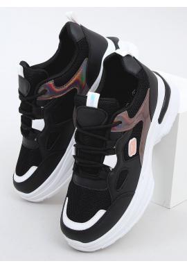 Dámske módne tenisky s holografickými doplnkami v čiernej farbe