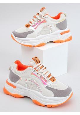 Béžovo-oranžové štýlové tenisky s vysokou podrážkou pre dámy