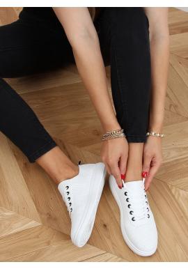 Pohodlné dámske tenisky bielo-čiernej farby s dierkovanou textúrou