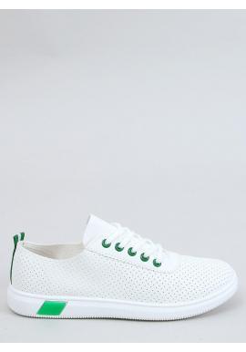 Dámske pohodlné tenisky s dierkovanou textúrou v bielo-zelenej farbe