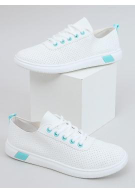 Pohodlné dámske tenisky bielo-modrej farby s dierkovanou textúrou