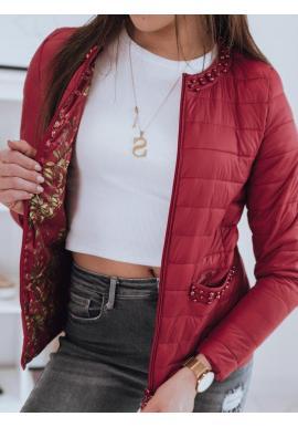 Prešívaná dámska bunda červenej farby s ozdobnými perlami