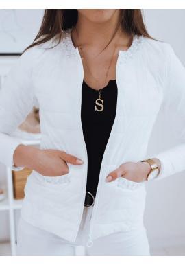 Prešívaná dámska bunda bielej farby s ozdobnými perlami