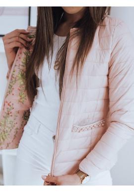 Ružová prešívaná bunda s ozdobnými perlami pre dámy