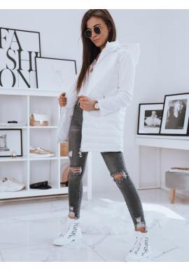 Dámska dlhšia prešívaná vesta s kapucňou v bielej farbe