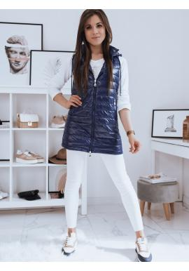 Modrá dlhšia prešívaná vesta s kapucňou pre dámy