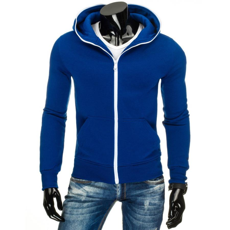 Mikina na zips v modrej farbe pre pánov - skvelamoda.sk 64bcfe8bb22