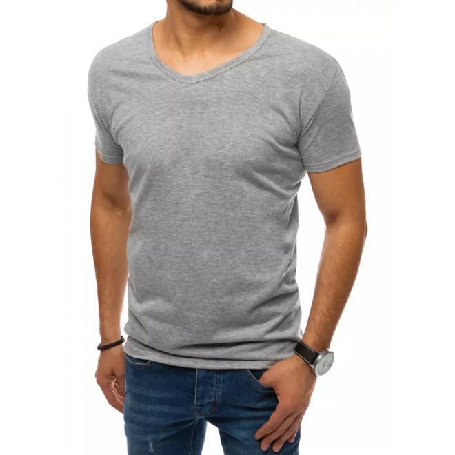 Svetlosivé klasické tričko s véčkovým výstrihom pre pánov