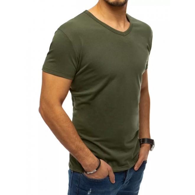 Pánske klasické tričko s véčkovým výstrihom v khaki farbe