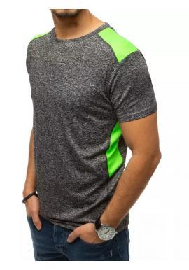 Športové pánske tričko tmavosivej farby s kontrastnými vložkami