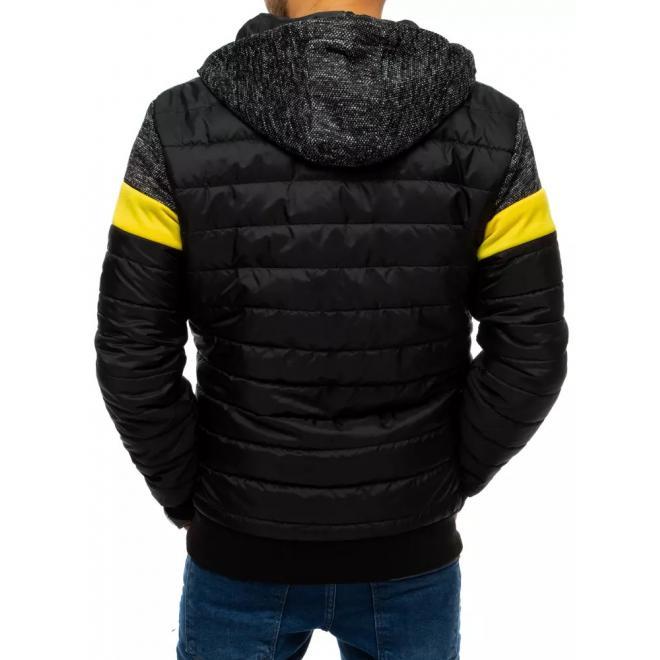 Čierna prešívaná bunda s kapucňou pre pánov