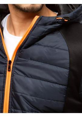 Pánske prešívané bundy s kapucňou v tmavomodrej farbe