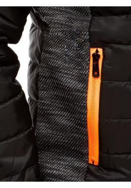 Prešívaná pánska bunda čiernej farby s kapucňou