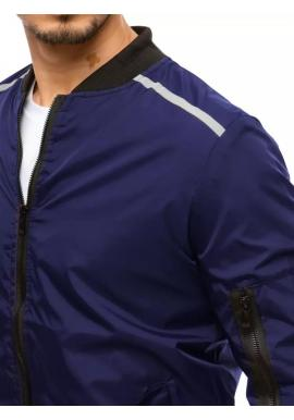 Prechodná pánska bunda tmavomodrej farby s reflexnými doplnkami