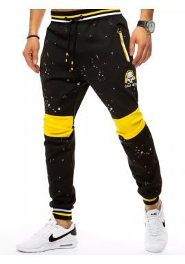Pánske športové tepláky s potlačou v čiernej farbe