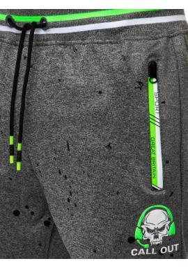 Športové pánske tepláky tmavosivej farby s potlačou