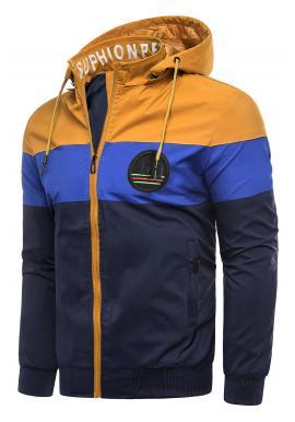 Pánska prechodná bunda s odopínacou kapucňou v ťavej farbe