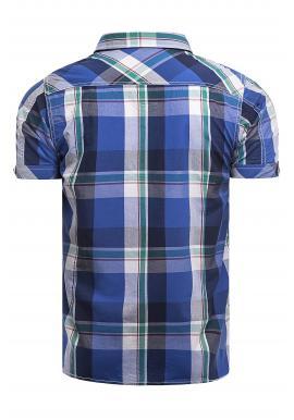 Pánska károvaná košeľa s krátkym rukávom v modrej farbe