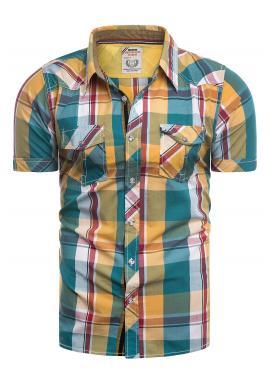 Žlto-zelená károvaná košeľa s krátkym rukávom pre pánov