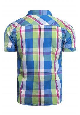 Károvaná pánska košeľa zeleno-modrej farby s krátkym rukávom