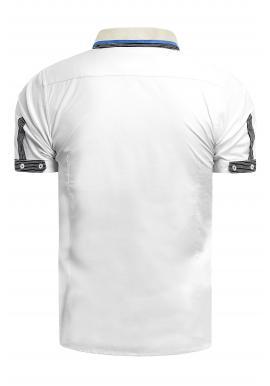 Pánska elegantná košeľa s krátkym rukávom v bielej farbe