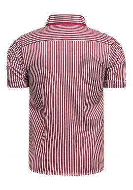 Červeno-biela pásikavá košeľa s krátkym rukávom pre pánov