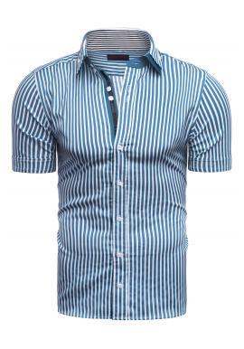 Pásikavá pánska košeľa modro-bielej farby s krátkym rukávom