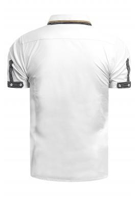 Pánske elegantné košele s krátkym rukávom v bielej farbe