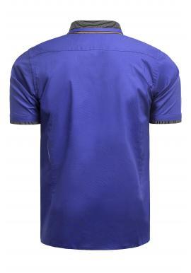 Modrá neformálna košeľa s krátkym rukávom pre pánov