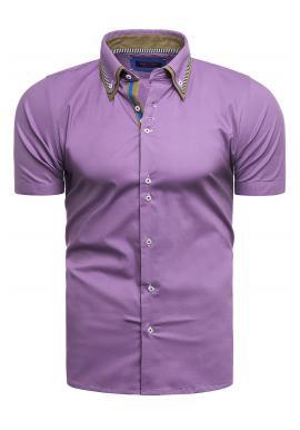 Klasická pánska košeľa fialovej farby s krátkym rukávom