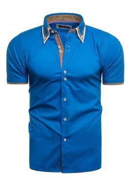 Pánska slim fit košeľa s krátkym rukávom v tyrkysovej farbe