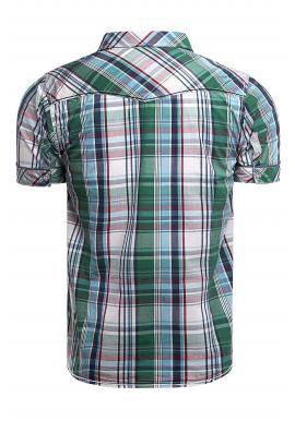 Károvaná pánska košeľa zelenej farby s vreckami na hrudi